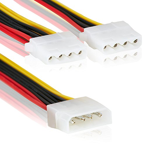 2 Fachstecker - Molex IDE 1 zu 2 Stecker   Mehrfachstecker   14cm   Anschluss Stromstecker Splitter Y-Adapter Verteiler LP4 3er Stecker Strom -MOVOJA