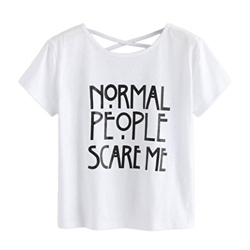 HARRYSTORE Woman Girl Crop T-Shirt &Top Women Girls Short Sleeve Tee Short Crop Tops -Normal People Scare me