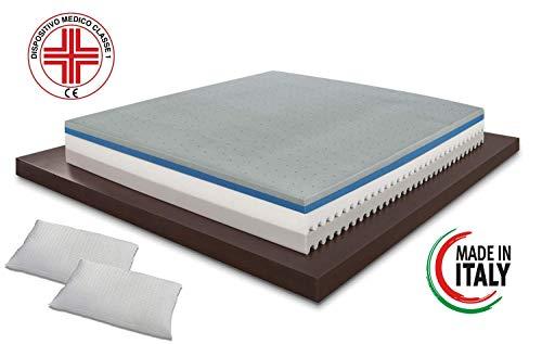 Colchón para cama doble, con espuma de Memory, modelo Top Air, dimensiones 160x 190cm, altura de 25cm, aloe vera funda