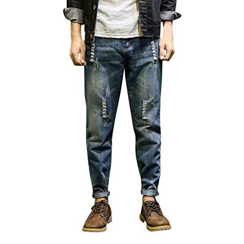 KPPONG 2018 Männer Stretch Denim Pluderhosen Mode Lose Distressed Ausgefransten Taschen Lose Jeans Hosen - Jeans Zerschlissene