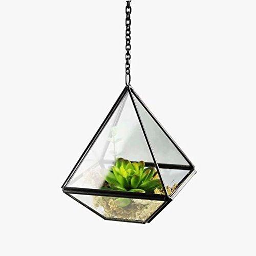 YUAN Modernes künstlerisches klares Glas-geometrisches Terrarium fünfflächiger Diamant-saftiges Fernmoos-Terrarium mit der Schleife, die Blumentöpfe hängt (größe : A)