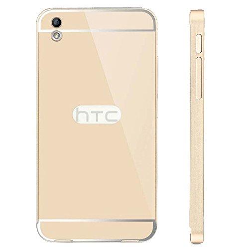 SDO™ Metal Bumper Frame Case with Acrylic Mirror Back Cover Case for HTC Desire 816 (Gold)