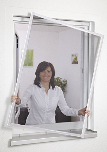 Preisvergleich Produktbild Insektenschutz Fliegengitter Fenster Alurahmen ohne Bohren 100 x 120 cm weiss