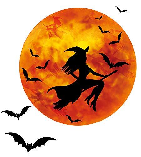 1art1 126295 Halloween - Hexe Auf Besen Bei Vollmond, Fledermäuse Wand-Tattoo Aufkleber Poster-Sticker 55 x 55 cm