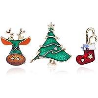 TONVER - Broche de Navidad, 1 pieza chapado en oro, diseño de manualidades con cristales brillantes, broche de broche, joyas regalos para mujeres y niñas, Aleación, Elk + Christmas Tree + Christmas Stockings, 2.9cm