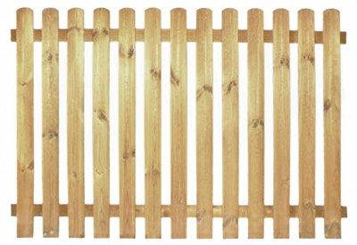StaketenZaun 'Premium' 180x120/120cm - gerade - kdi / V2A Edelstahl Schrauben verschraubt - aus getrocknetem Holz glatt gehobelt - gerade Ausführung - kesseldruckimprägniert