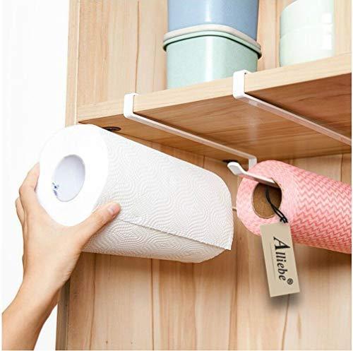 Alliebe 2 Papier Handtuchhalter Spender unter Schrank Papierrollenhalter Rack ohne Bohren für Küche Badezimmer (Blatt, Handtuch Halter Badezimmer)