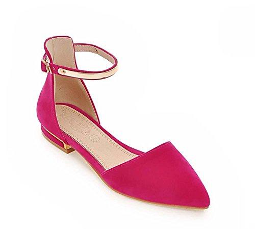 NobS Donna Sandali Suede metallo Large Size 40-45 cinturini alla caviglia Point Appartamenti Toe peach red
