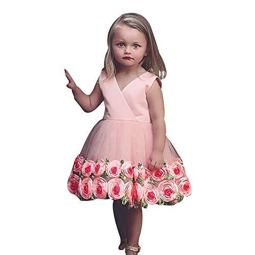 (Frashing Mädchen Ärmellos Kleid Rosen und Bögen Party Hochzeit Prinzessin Kleid Abschlussball Ballkleid Blumenmaedchenkleid Faschingskostüm)