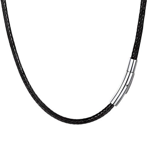 PROSTEEL Collar de Cuero Genuino para Hombre, 3mm Cadena de Cuero con Cierre de Acero Inoxidable Collar Básico