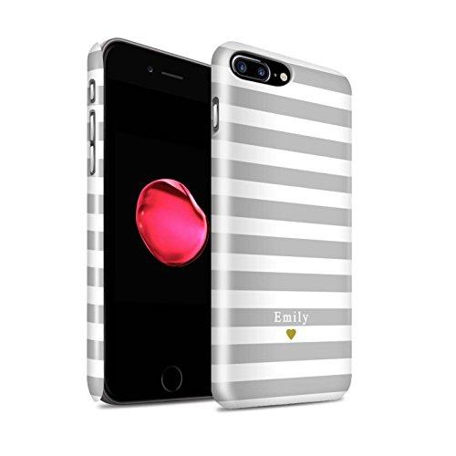 Personnalisé Rayures/Rayé Coutume Brillant Coque pour Apple iPhone 4/4S / Coeur Rayure Bleu Design / Initiales/Nom/Texte Etui/Housse/Case Clipser Coeur Argent/Gris