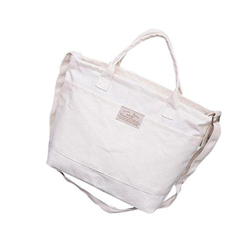 Saingace Art- und Weisefrauen-beiläufige einfache Segeltuch-Handtaschen-Kreuz-Körper-Schulter-Kurier-Beutel Weiß