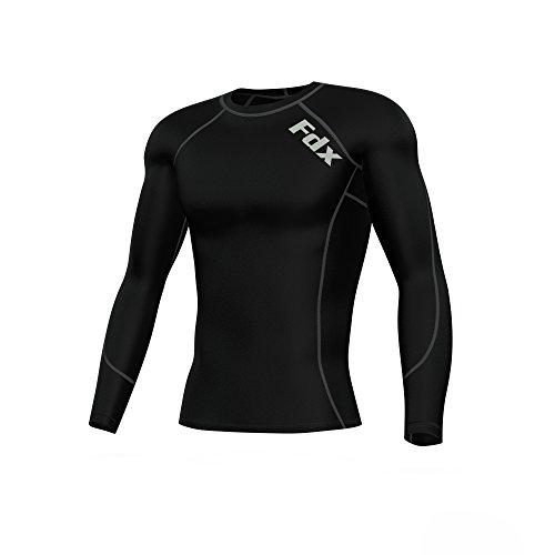 FDX Herren-Thermo-Kompressions-Shirt, Unterhemd-/ Sporthemd, langärmelig Größe L schwarz / grau