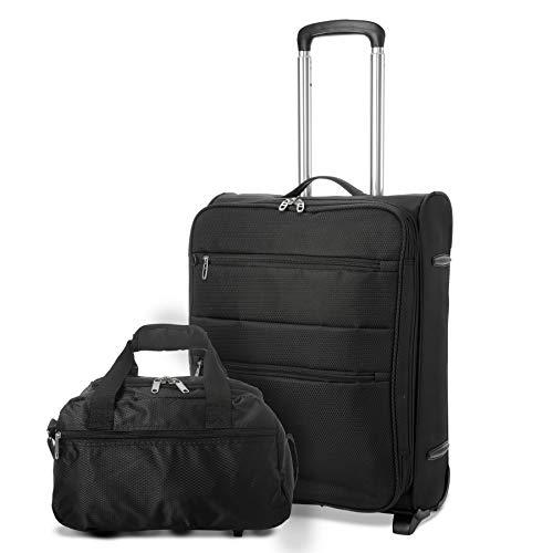 Amazon Marke: EONO Essentials 55x40x20 Ryanair 2 Rollen Leichtgewicht Koffer Bordgepäck Trolley Kabinentrolley Gepäck, erweiterbar zu Einem 55x40x23 Handgepäck für Lufthansa & Eurowings + Tasche