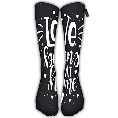 Randell Unisex Classic Knee High Over Calf Love Begins at Home Family 3D Print Athletic Soccer Tube Cool Fun Party Cosplay Socks (Home At Print)