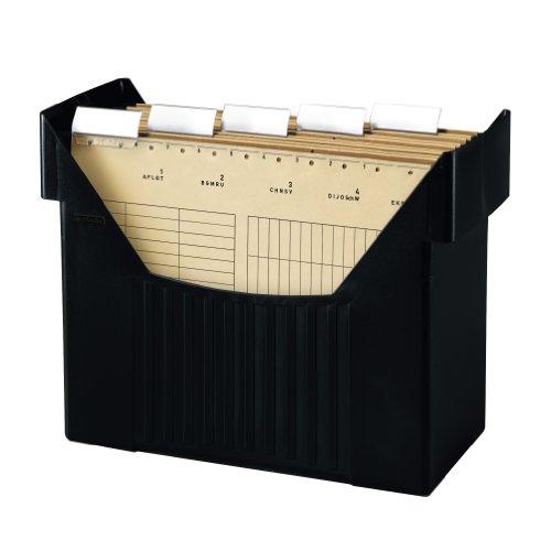 Herlitz 1611391 Hängeregistraturbox Hängebox A4 schwarz Big Boy mit 5 Hängemappen natron