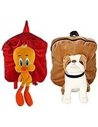 MGP Premium Tweety (Red) & Brown Pug Dog Kids School Bag