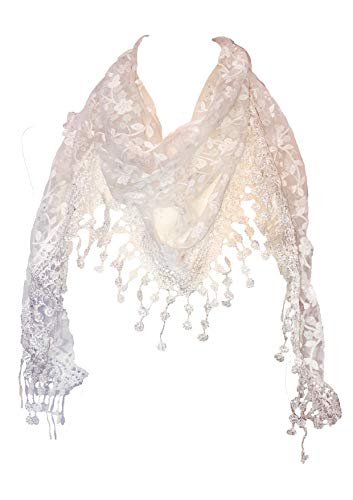 Pamper Yourself Now Creme-weiß mit weiße Blume prickelnde Spitze Dreieck Schal mit Spitzenrand (Creamy white with white glittery flower lace triangle scarf with lace trim)