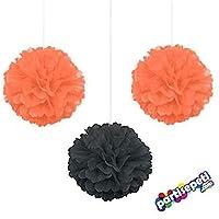 Cadılar Bayramı Halloween Ponpon Çiçek 3 Adet / 35 x 35 Cm