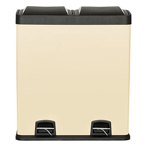 Kendan - Creme 60Liter Touch Recycle Mülleimer Recycling Innenfach Abschnitt Garbage Eco Abfall Trash Can Küche Abfalleimer