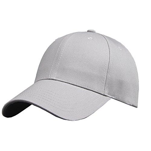 Baumwolle Baseball Cap, Basecap - KeepSa Unisex Baseball Kappen, Baseball Mützen für Draussen, Sport oder auf Reisen - Reine Farbe Baseboard Baseballkappe Kappe, Mütze (Eine Größe einstellbar, Grau)