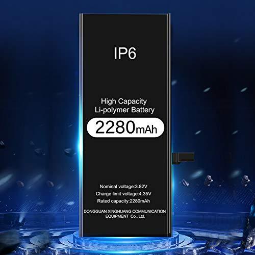 Fwn 2280mAh Batterie Interne de Remplacement pour iPhone 6, Grande capacité Lithium-polymère Rechargeable Batterie avec Complet kit d'Outils de réparation de l'adhésif Instructions 24 Mois Garantie