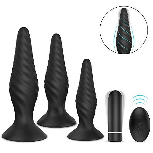 Analplugs Set mit Bullet Vibratoren Prostata stimulator, NightFly Butt Plug Analvibratoren Set 9 Vibrationsmodi und Rotationsstufen mit Fernbedienung, Sexspielzeug für Männer, Frauen und Paar