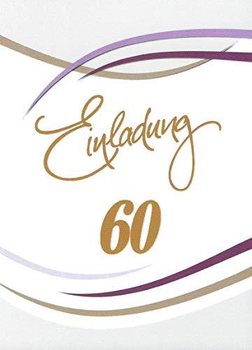 Einladungskarten 60. Geburtstag Frau Mann mit Innentext Motiv weiß Streifen 10 Klappkarten DIN A6 im Hochformat mit weißen Umschlägen im Set Geburtstagskarten Einladung 60 Geburtstag Mann Frau K148 (Geburtstag 60. Party-einladungen)