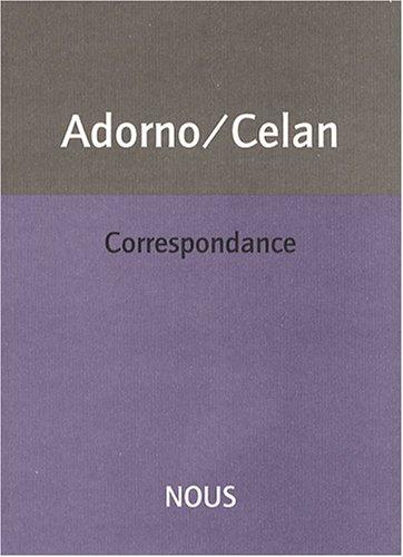 Correspondance par Theodor Adorno