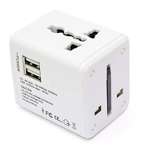 AYCYNI Konverter Konverter Stecker Konverter Stecker Global Universal Travel 2USB-gelb, Dual USB-gelb (Geschenkgurt),Dual USB-Weiß (Geschenkgurt) (Elektronische Zahnbürste Duale)