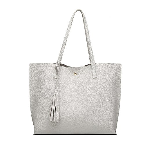 Graue PU Leder Totes Handtasche für Damen Hobos Taschen und Einfach Stil Fashion Schultertaschen (Leder Geldbörse Graue Aus)