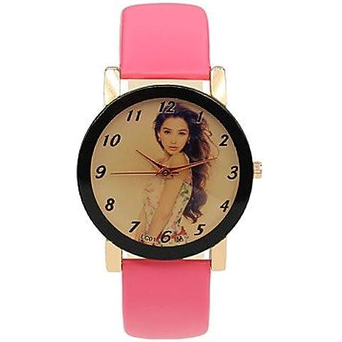 regalo studente cinturino in pelle di svago bella stampa orologi analogico-digitale delle donne ( Colore : Rosa , Taglia : Donna-Taglia unica
