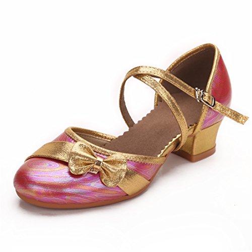 Cool&D Mädchen Tanzschuhe Prinzessin Schuhe Kinder Latein Schuhe mit Weiche Sohlen - Kinder Rote Pailletten-schuhe