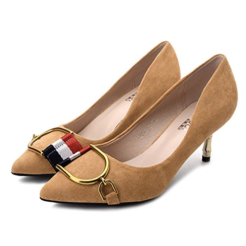 cy Frauen Kitten Heel Fashion Spitzschuh Pumps Pumps Für Hochzeit Kleid Stiletto Slip On Schuhe,Yellow-EU:39/UK:6.5
