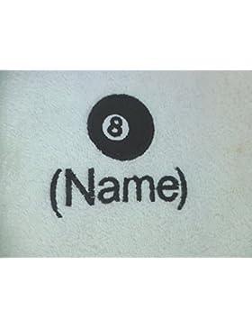 Toalla para la cara, toalla de mano, toalla de baño, baño (o) personalizado con 8bolas de billar Logo y nombre...