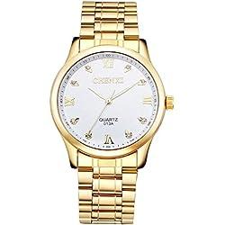 Fq-003 IP Herren-Armbanduhr, weißes Zifferblatt mit Strasssteinen, römische Zahlen, Stahl, vergoldet