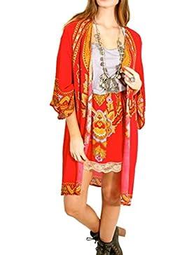 Las Mujeres Estilo Étnico Impreso Floral De La Mantón Kimono Cardigan Tops Cúbrase