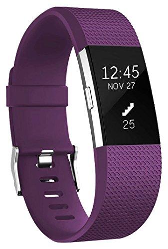 Ersatz Fitbit Charge 2 Armband, HUMENN Weich Verstellbares Armband mit Klassisch Schnalle für Fitbit Charge 2 Small Pflaume