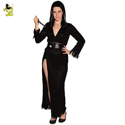 Für Kostüm Elvira Erwachsenen - GAOGUAIG AA Elvira Damenkostüm Herrin der Dunkelheit Sexy Kostüme in Schwarz SD (Color : Onecolor, Size : Onesize)