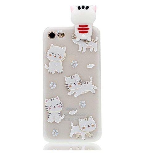 iPhone 6 Plus copertura,iPhone 6S Plus Case,Cassa molle del silicone molle della cassa dell gatto cat del fumetto 3D per il iPhone 6 Plus / iPhone 6S Plus 5.5inch,bianca bianca