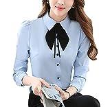 BININBOX Elegant Damen Bluse Langarm mit Schleife OL Business Hemdbluse Regular Fit Oberteil in 4 Farben XL Blau