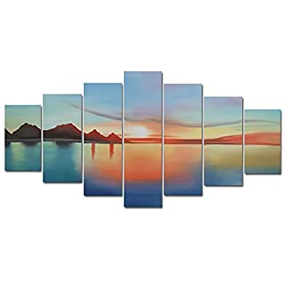 Design Art OL795 7-Panel Landscape Sunset Abstract Oil Painting, 70 by 36-Inch by Design Art