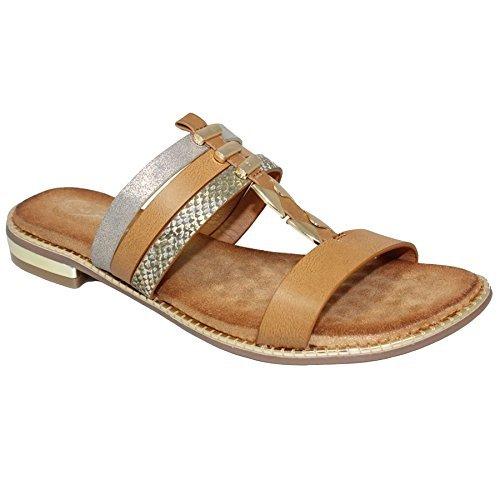 Fantasia Boutique jlh905 Bellini Plat Ruban Coussin Semelle Intérieure Cuir Synthétique Style Mule Sandales