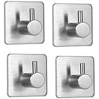 Ganchos Autoadhesivos 4 piezas, inoxidable acero toalla ganchos adhesivos para pared, gancho de pared impermeable y resistente al aceite para baño, cocina y sala de estar.