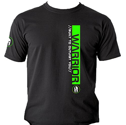 Quality Men's 'WARRIOR Built to Outlast You' front and back print T-shirts. Weightlifting Bodybuilding Gym Workout. 5 size Options. Fluoresent Green. Red. Yellow (XXLarge, Fluoresent Green) (Training Warrior T-shirt)