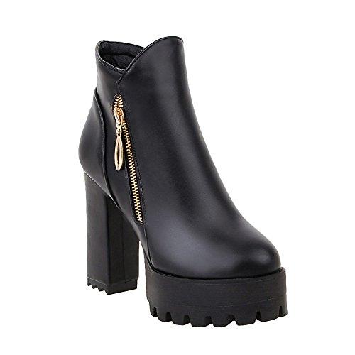 Mee Shoes Damen chunky heels Reißverschluss kurzschaft Stiefel Schwarz