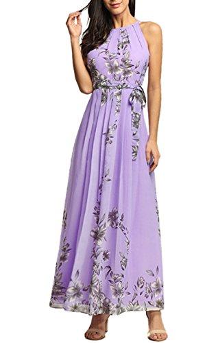 BestWahl Damen Chiffonkleid Cocktailkleid Abendkleid Ballkleid Sommer Maxi Kleider Lange Sommer Vintage Kleider 36 38 40 42 44 46 48 50 52 54 (EU 36-38, Lila) - Lila Kleid Chiffon-langes