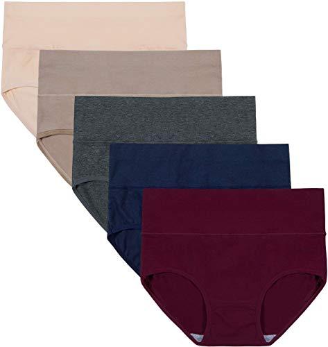 INNERSY Unterwäsche Frauen Bauchweg Unterhose Damen Slips Mehrpack Bauwolle Hohe Taille Panties (XL-EU 44,Color 5F) -