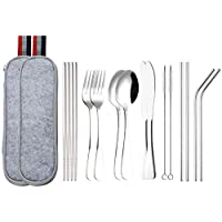 Lawei 16 Pcs Travel Cutlery Set Portable Camping Utensils Stainless Steel Flatware Set - Included Knife Fork Spoon Chopsticks Cleaning Brush Straws Portable Case