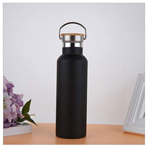 Edelstahl Wasserflasche AXZXC Vacuum Insulation Wiederverwendbare Wasserflaschen 750ml / 500ml Weithals Tragbare Fahrradwasserflasche Schwarz Blau (Color : A, Size : 750ml) -